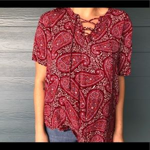 Red paisley tie up shirt